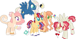 Size: 3674x1883 | Tagged: safe, artist:stalebread-chan, oc, oc only, oc:dizzy balloons, oc:glittering fabric, oc:kitty coture, oc:midnight sun, oc:tulip may, earth pony, hybrid, pegasus, pony, unicorn, base used, colored pupils, crack ship offspring, earth pony oc, flying, freckles, horn, interspecies offspring, magical lesbian spawn, next generation, offspring, parent:big macintosh, parent:capper dapperpaws, parent:derpy hooves, parent:fluttershy, parent:night glider, parent:princess cadance, parent:rarity, parent:roseluck, parent:sunburst, parent:sunset shimmer, parents:cadper, parents:derpyluck, parents:fluttermac, parents:nightshimmer, parents:rariburst, pegasus oc, simple background, socks (coat marking), star (coat marking), transparent background, unicorn oc