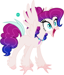 Size: 1280x1486 | Tagged: safe, artist:auroranovasentry, oc, oc:seafoam crest, classical hippogriff, hippogriff, hybrid, female, interspecies offspring, magical lesbian spawn, offspring, parent:pinkie pie, parent:princess skystar, parents:skypie, simple background, solo, transparent background