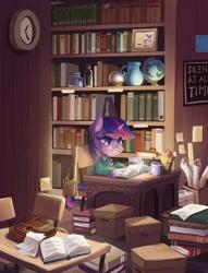 Size: 3132x4096 | Tagged: safe, artist:saxopi, twilight sparkle, pony, unicorn, book, bookshelf, box, clock, clothes, glasses, globe, inkwell, jar, library, mug, quill, satchel, shirt, solo