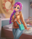 Size: 900x1107 | Tagged: safe, artist:racoonsan, sunny starscout, human, anime, badge, bag, bed, bedroom, braid, clothes, cute, female, g5, holding, humanized, jeans, pants, satchel, scene interpretation, shoulder bag, smiling, solo, sunnybetes, sweater
