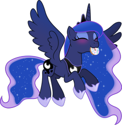 Size: 5348x5501 | Tagged: safe, artist:anime-equestria, princess luna, alicorn, pony, :3, absurd resolution, anime-equestria is trying to murder us, blushing, crown, cute, donut, eyes closed, eyeshadow, featured image, female, flying, food, happy, horn, jewelry, lunabetes, makeup, mare, mouth hold, nom, regalia, simple background, smiling, solo, spread wings, sweet dreams fuel, three quarter view, transparent background, vector, weapons-grade cute, wings