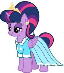 Size: 1329x1523 | Tagged: safe, anonymous artist, derpibooru exclusive, stepford ponies, twilight sparkle, alicorn, pony, .svg available, bedroom eyes, clothes, dress, eyelashes, female, fusion, horns, jewelry, makeup, mare, simple background, smiling, solo, svg, tiara, transparent background, twilight sparkle (alicorn), vector, wings