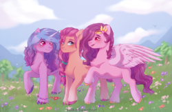 Size: 3500x2286 | Tagged: safe, artist:belkasweet, izzy moonbow, pipp, sunny starscout, earth pony, pegasus, pony, unicorn, blushing, braid, chest fluff, cloud, female, flower, g5, grass, high res, mare, mountain, open mouth, raised hoof, sky, smiling, tree, unshorn fetlocks, wings