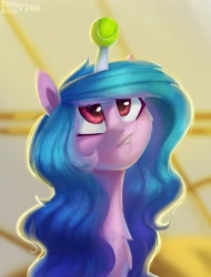 Size: 1913x2520 | Tagged: safe, artist:enderselyatdark, izzy moonbow, pony, unicorn, g5 movie, spoiler:g5, spoiler:g5 movie, chest fluff, cute, female, g5, horn, horn guard, horn impalement, hornball, looking up, mare, solo, solo female, teeth, tennis ball