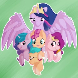Size: 1896x1896 | Tagged: safe, artist:exobass, hitch trailblazer, izzy moonbow, sunny starscout, twilight sparkle, alicorn, earth pony, pegasus, pony, unicorn, the last problem, spoiler:g5, chest fluff, crown, female, g5, generation5, group picture, jewelry, male, mare, older, older twilight, one eye closed, open mouth, princess twilight 2.0, regalia, spread wings, stallion, tongue out, twilight sparkle (alicorn), unshorn fetlocks, wings