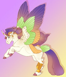 Size: 1390x1619 | Tagged: safe, artist:seffiron, oc, oc:shimmering tales, alicorn, pony, colored wings, magical lesbian spawn, multicolored wings, offspring, parent:captain celaeno, parent:twilight sparkle, solo, tail feathers, wings