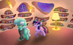 Size: 4346x2716 | Tagged: safe, artist:background basset, lyra heartstrings, twilight sparkle, pony, unicorn, fanfic:background pony, confused, duo, duo female, female, golden oaks library, lamp, library, night, sad, unicorn twilight