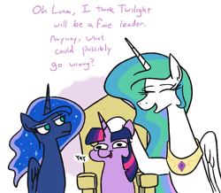 Size: 899x784 | Tagged: safe, artist:jargon scott, princess celestia, princess luna, twilight sparkle, alicorn, pony, unicorn, constellation freckles, dialogue, eyes closed, female, freckles, head scratch, mare, throne, twiggie, unicorn twilight, what could possibly go wrong, yay