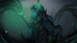 Size: 1920x1080 | Tagged: safe, artist:chickenbrony, queen chrysalis, changeling, changeling queen, anthro, choker, clothes, dress, female, league of legends, lidded eyes, looking at you, solo, sword, weapon