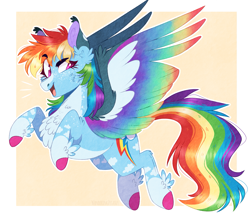 Size: 1389x1224 | Tagged: safe, artist:wanderingpegasus, rainbow dash, pegasus, pony, alternate hairstyle, blaze (coat marking), chest fluff, coat markings, colored wings, colored wingtips, ear fluff, female, flying, freckles, leg fluff, looking back, mare, markings, multicolored wings, pale belly, rainbow dash day, rainbow wings, raised hoof, redesign, socks (coat markings), solo, unshorn fetlocks, wings