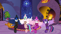 Size: 1280x720 | Tagged: safe, artist:brightstar40k, princess cadance, princess celestia, princess luna, twilight sparkle, alicorn, pony, arm behind back, bondage, bound and gagged, cloth gag, clothes, female, footed sleeper, footie pajamas, gag, kidnapped, mare, onesie, otn gag, over the nose gag, pajamas, princess, rope, rope bondage, sleepover, slumber party, surprised, tied up