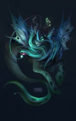 Size: 808x1280 | Tagged: safe, artist:komical, queen chrysalis, angler fish, changeling, changeling queen, fish, merpony, seapony (g4), unicorn, angler seapony, bioluminescent, colored pupils, crown, eyelashes, fangs, female, fin wings, fish tail, flowing mane, glowing, green eyes, horn, jewelry, logo, regalia, seaponified, seapony chrysalis, solo, species swap, tail, underwater, water, wings