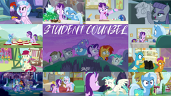 Size: 1974x1112   Tagged: safe, edit, edited screencap, editor:quoterific, screencap, edith (cockatrice), gallus, maud pie, mudbriar, roseluck, silverstream, smolder, starlight glimmer, sunburst, terramar, trixie, bird, cockatrice, dragon, earth pony, griffon, pony, unicorn, student counsel, angry, bag, cape, clothes, cute, diabedith, diastreamies, dragoness, female, glasses, glimmerbetes, glowing horn, group hug, hat, horn, hug, magic, magic aura, male, maudabetes, open mouth, petrification, saddle bag, school of friendship, shocked, smiling, spying, stone, trixie's cape, trixie's hat, turned to stone, when she smiles