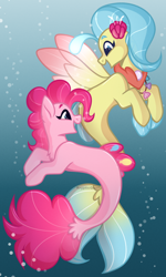 Size: 1152x1914 | Tagged: safe, artist:krypticquartz, pinkie pie, princess skystar, earth pony, pony, seapony (g4), my little pony: the movie, bioluminescent, blue eyes, bubble, female, fin wings, fins, fish tail, flower, flower in hair, freckles, jewelry, looking at each other, necklace, open mouth, pearl necklace, seaponified, seapony pinkie pie, seashell, seashell necklace, smiling, species swap, speedpaint, tail, underwater, water, wings