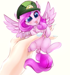 Size: 703x752   Tagged: safe, artist:haokan, oc, human, pegasus, pony, :3, :p, blushing, chest fluff, commission, cute, dock, ear fluff, female, hand, holding a pony, in goliath's palm, micro, offscreen character, offscreen human, solo, tiny, tiny ponies, tongue out, wings, ych result, ych sketch, your character here
