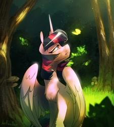Size: 1440x1597 | Tagged: safe, artist:anticular, twilight sparkle, alicorn, pony, chest fluff, female, leg fluff, mare, scenery, sitting, solo, tree, twilight sparkle (alicorn)