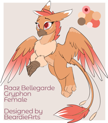 Size: 1231x1408 | Tagged: safe, artist:beardie, edit, oc, oc only, oc:raaz, griffon, adoptable, chest fluff, female, gray background, griffon oc, no source available, pale belly, reference sheet, simple background, solo, spread wings, text, wings