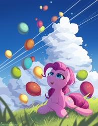 Size: 2050x2624 | Tagged: safe, artist:emeraldgalaxy, pinkie pie, earth pony, pony, balloon, cloud, ear fluff, grass, high res, leg fluff, lying down, prone, sky, solo