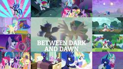 Size: 1978x1113 | Tagged: safe, edit, edited screencap, editor:quoterific, screencap, applejack, arista, capper dapperpaws, fluttershy, garble, nurse sweetheart, pinkie pie, princess celestia, princess luna, prominence, rainbow dash, rarity, spike, twilight sparkle, vex, alicorn, bird, changedling, changeling, chicken, dragon, earth pony, pegasus, pony, unicorn, between dark and dawn, season 9, spoiler:s09, 80s princess luna, angry, applejack is not amused, applejack's hat, arm wrestling, cowboy hat, duo, duo female, faic, female, glowing horn, hat, horn, lotta little things, magic, magic aura, mane seven, mane six, open mouth, rarity is not amused, royal sisters, siblings, sisters, spike is not amused, throne room, twilight sparkle (alicorn), unamused, winged spike