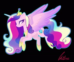 Size: 2048x1736 | Tagged: safe, artist:fernandasparklee, princess cadance, alicorn, pony, black background, crown, curly mane, curly tail, eyelashes, female, hoof shoes, horn, jewelry, purple eyes, regalia, signature, simple background, smiling, solo, wings