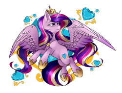 Size: 1608x1222 | Tagged: safe, artist:bladedeehunter, princess cadance, alicorn, pony, crown, crystal heart, female, flowing mane, flowing tail, hoof shoes, horn, jewelry, purple eyes, regalia, simple background, smiling, solo, transparent background, wings