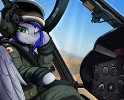 Size: 2494x2016   Tagged: safe, artist:pridark, oc, oc only, oc:eagle fly, pegasus, pony, clothes, commission, cute, female, flight suit, helicopter, helmet, high res, looking at you, mare, one eye closed, pilot, solo, uh-1 iroquois, uniform, wings, wink