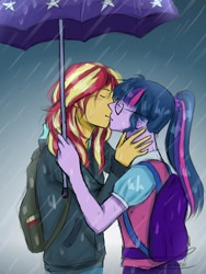Size: 600x800   Tagged: safe, artist:itzlazeii, sci-twi, sunset shimmer, twilight sparkle, equestria girls, eyes closed, female, kissing, lesbian, rain, scitwishimmer, shipping, sunsetsparkle, umbrella