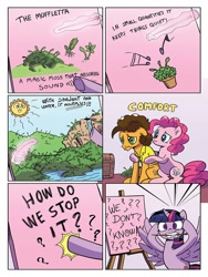 Size: 768x1024 | Tagged: safe, artist:pencils, cheese sandwich, pinkie pie, twilight sparkle, alicorn, earth pony, pony, idw, spoiler:comic, spoiler:comic95, bipedal, comforting, duo, female, freakout, lake, male, mare, mouth hold, muffuleta, preview, sad, season 10, sitting, stallion, sun, twilight sparkle (alicorn), twilighting, unsound effect, waterfall
