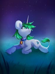 Size: 2900x3867   Tagged: safe, artist:sugarstar, oc, oc only, oc:sugarstar, pony, unicorn, collar, female, high res, lying down, night, simple background, solo, stars, teary eyes
