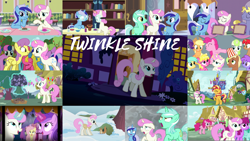 Size: 1964x1105   Tagged: safe, edit, edited screencap, editor:quoterific, screencap, amethyst star, applejack, berry punch, berryshine, bon bon, cherry berry, cherry spices, daisy, flower wishes, fluttershy, lyra heartstrings, meadow song, minty green, minuette, parasol, pinkie pie, ponet, rainbow dash, rarity, sci-twi, sparkler, spring melody, sprinkle medley, sunset shimmer, sunshower raindrops, sweetie drops, twilight sparkle, twinkleshine, earth pony, pegasus, pony, squirrel, unicorn, a canterlot wedding, amending fences, boast busters, celestial advice, equestria games (episode), equestria girls, equestria girls series, pinkie pride, scare master, spice up your life, spring breakdown, the ending of the end, the super speedy cider squeezy 6000, winter wrap up, spoiler:eqg series (season 2), applejack's hat, aweeg*, background pony, bell, bipedal, bipedal leaning, bushicorn, cowboy hat, crystal palace, duo, duo female, equestria girls ponified, eyes closed, female, filly, filly minuette, filly twinkleshine, food, glasses, glowing horn, hat, horn, lab goggles, leaning, levitation, magic, magic aura, male, mane six, mouth hold, open mouth, popcorn, puffy cheeks, raised hoof, safety goggles, telekinesis, trio, trio female, unicorn sci-twi