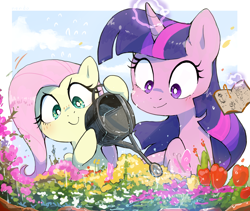 Size: 2340x1979 | Tagged: safe, artist:nendo, fluttershy, twilight sparkle, butterfly, pegasus, pony, book, cute, duo, duo female, female, flower, garden, gardening, glowing horn, hoof hold, horn, magic, mare, shyabetes, smiling, telekinesis, water, watering can