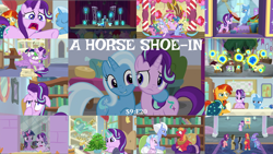 Size: 1974x1111 | Tagged: safe, edit, edited screencap, editor:quoterific, screencap, auburn vision, berry blend, berry bliss, big macintosh, dj pon-3, doctor whooves, end zone, huckleberry, november rain, octavia melody, phyllis, pinkie pie, silverstream, sky beak, spike, spoiled rich, starlight glimmer, summer breeze, sunburst, time turner, trixie, twilight sparkle, vinyl scratch, violet twirl, yona, alicorn, dragon, earth pony, griffon, hippogriff, pony, unicorn, yak, a horse shoe-in, conversation, crying, dragoness, eyes closed, female, friendship student, glowing horn, horn, hug, magic, magic aura, male, musical instrument, open mouth, phyllis no!, school of friendship, twilight sparkle (alicorn), winged spike, yovidaphone