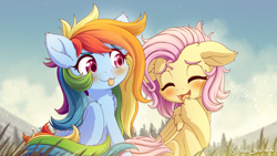 Size: 2840x1600 | Tagged: safe, artist:symbianl, fluttershy, rainbow dash, pegasus, pony, alternate hairstyle, blushing, cute, dashabetes, duo, duo female, eyes closed, female, mare, open mouth, scenery, shyabetes, sitting, smiling, tongue out