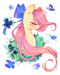 Size: 978x1218 | Tagged: safe, artist:soundwavepie, artist:xpurplepiex, fluttershy, butterfly, pony, bow, bust, cute, eyes closed, hair bow, leaves, portrait, profile, shyabetes