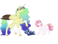 Size: 1280x960 | Tagged: safe, artist:doodletheexpoodle, princess celestia, princess luna, oc, oc:queen eva gaia, alicorn, earth pony, pegasus, pony, alicorn oc, baby, baby pony, blank flank, cewestia, earth pony celestia, female, filly, horn, mare, pegasus luna, race swap, simple background, white background, wings, woona, younger
