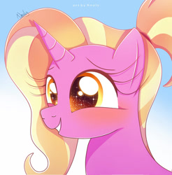 Size: 1024x1040 | Tagged: safe, artist:nnaly, luster dawn, pony, unicorn, blushing, bust, cute, female, lusterbetes, mare, portrait, signature, smiling, solo, sparkly eyes