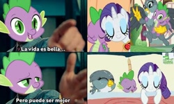Size: 720x433 | Tagged: safe, edit, edited screencap, screencap, gabby, rarity, spike, dragon dropped, secret of my excess, bisexual, female, lesbian, life is good but it can be better, male, meme, polyamory, shipping, spabby, spanish, sparibby, sparity, spike gets all the mares, straight, wonder woman 1984