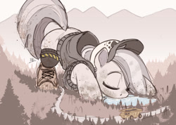 Size: 1200x856 | Tagged: safe, artist:raps, marble pie, earth pony, pony, clothes, drinking, dump truck, eyes closed, female, giant pony, giantess, lake, macro, solo, truck