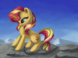 Size: 4000x3000   Tagged: safe, artist:flusanix, sunset shimmer, pony, unicorn, angry, female, glowing horn, horn, mare, solo