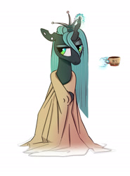 Size: 1700x2300 | Tagged: safe, artist:filly909, queen chrysalis, changeling, changeling queen, clothes, coffee, coffee mug, crown, cute, cutealis, female, hand, horn, jewelry, magic, magic hands, messy mane, morning ponies, mug, regalia, robe, simple background, solo, telekinesis, tired, towel, white background