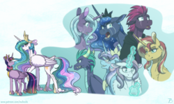 Size: 2416x1452 | Tagged: safe, artist:inuhoshi-to-darkpen, gaius (dragon), potion nova, princess celestia, princess flurry heart, princess luna, radiant hope, sunset shimmer, tempest shadow, twilight sparkle, alicorn, dragon, unicorn, idw, my little pony: pony life, pony life, alternate universe, angry, chest fluff, crown, crying, ear fluff, floppy ears, glowing horn, hoof fluff, hoof shoes, horn, jewelry, leonine tail, magic, regalia, royal sisters, siblings, sisters, tail feathers, telekinesis, twilight sparkle (alicorn), unshorn fetlocks, wing fluff
