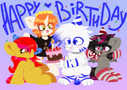 Size: 2400x1700 | Tagged: safe, artist:etoz, oc, oc only, oc:caramel glow, oc:etoz, oc:light speed, oc:robin, alicorn, earth pony, griffon, pony, unicorn, alicorn oc, birthday, birthday cake, blushing, cake, candle, chibi, clothes, crown, earth pony oc, female, food, gift art, gradient background, griffon oc, happy, happy birthday, hat, heart, horn, jewelry, male, mare, party hat, regalia, sitting, smiling, socks, stockings, striped socks, striped stockings, thigh highs, unicorn oc, wings