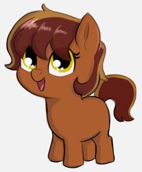 Size: 528x637 | Tagged: safe, artist:heretichesh, oc, oc:garnet gold, earth pony, pony, blushing, female, filly, happy, offspring, parent:oc:flint spark, parent:oc:ruby rouge, parents:oc x oc, smol, solo
