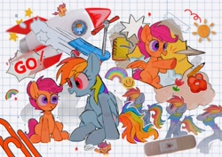 Size: 1754x1240   Tagged: safe, artist:poneko-chan, rainbow dash, scootaloo, pegasus, pony, bandaid, cute, cutealoo, dashabetes, female, filly, mare, paper airplane, rocket, scooter