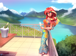 Size: 1834x1348 | Tagged: safe, artist:sugarlesspaints, sunset shimmer, human, equestria girls, alcohol, balcony, bottle, breasts, busty sunset shimmer, champagne, champagne bucket, champagne glass, champagne on ice, clothes, dress, ear piercing, earring, human coloration, jewelry, lake, looking at you, piercing, ring, scenery, smiling, solo, table, wine