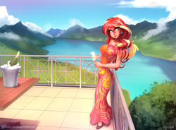 Size: 1834x1348 | Tagged: safe, alternate version, artist:sugarlesspaints, sunset shimmer, human, equestria girls, alcohol, balcony, bottle, breasts, busty sunset shimmer, champagne, champagne bucket, champagne glass, champagne on ice, cleavage, clothes, dress, ear piercing, earring, human coloration, jewelry, lake, looking at you, mountain, mountain range, piercing, ring, scenery, smiling, solo, table, wine