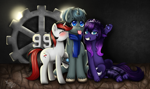 Size: 5444x3237 | Tagged: safe, artist:yumomochan, princess luna, oc, oc:blackjack, oc:scope sight, cat, cat pony, original species, unicorn, fallout equestria, fallout equestria: project horizons, blushing, catified, commission, dark background, digital art, dirt, kissing, lights, metal gear, paws, princess mewna, silly face, smiling, species swap, tongue out, trio