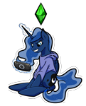 Size: 3109x3847 | Tagged: safe, artist:khaki-cap, princess luna, alicorn, gamer luna, amused, butt, clothes, crystal, cutie mark, excited, hoodie, magic, moonbutt, playing, playstation portable, psp, simple background, the sims, transparent background, transparent mane