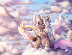 Size: 2200x1700 | Tagged: safe, artist:shady-bush, oc, alicorn, pony, seraph, seraphicorn, cloud, female, halo, harp, mare, multiple wings, musical instrument