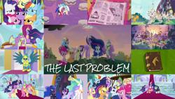 Size: 1978x1113 | Tagged: safe, edit, edited screencap, editor:quoterific, screencap, applejack, billy (dragon), bon bon, cozy glow, derpy hooves, fluttershy, gallus, li'l cheese, lord tirek, luster dawn, lyra heartstrings, nightly wisp, pinkie pie, princess celestia, princess luna, professor mossmane, professor mosstone, queen chrysalis, rainbow dash, rainbow swoop, rarity, spectrum, spike, starlight glimmer, sweetie drops, twilight sparkle, alicorn, dragon, earth pony, griffon, pegasus, pony, unicorn, the last problem, armor, book, canterlot, crown, crying, crying on the outside, crylight sparkle, elements of harmony (book), eyes closed, female, fluttercry, freakout, glowing horn, group hug, horn, hug, jewelry, lesbian, lyrabon, magic, magic aura, mane seven, mane six, older, older applejack, older fluttershy, older gallus, older mane seven, older mane six, older pinkie pie, older rainbow dash, older rarity, older spike, older twilight, open mouth, petrification, pinkie cry, ponyville, princess twilight 2.0, regalia, royal guard, royal guard gallus, sad, sad smile, sadbow dash, sadjack, shipping, tears of joy, teeth, twilight sparkle (alicorn), unhapplejack, winghug, wings